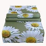 Tischdecke Eckig 40x140 cm Pflegeleicht Oliv Gänseblümchen Tischläufer Tischdekoration Gartendecke
