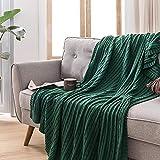 Amosiwallart Decke hochwertige Wohndecken Kuscheldecken, extra warm Sofadecke/Couchdecke in zweiseitig, super flausch Fleecedecke als Sofaüberwurf oder Wohnzimmerdecke -Dunkelgrün_180x200cm