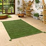 Natur Teppich Bauwolle Kelim Prico Grün in 8 Größ