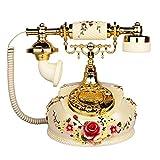 XIAOPENG Europäisches Drehknopf-Retro-Telefon Schnurgebundenes Festnetztelefon mit Doppelten Klingeltönen Klassisches Haustelefon Altes Mode-Büro Dekor Festnetz