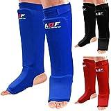 AQF Schienbeinschoner Boxen MMA Kampfsport Schienbeinschutz 2er-Paar Kickboxen Schienbeinschützer Shin Guard (Blau, XL)