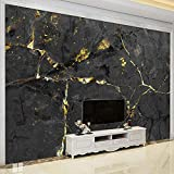 BYSQX Vlies Tapeten Wandtapete Schwarz Gold Marmor Muster 3D Wandbild Tapete Vlies Tapete Wandtapete Tapete Wohnzimmer Wanddekoration Fototapete 3D Tapete Effekt Wandbild 400X280Cm