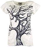 GURU SHOP Sure T-Shirt Om Tree, Damen, Weiß, Baumwolle, Size:S (36), Bedrucktes Shirt Alternative Bekleidung
