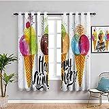 LTHCELE Blickdicht Vorhang für Schlafzimmer - Farbe Zapfen EIS Obst - 3D Druckmuster Öse Thermisch isoliert - 160 x 160 cm - 90% Blickdicht Vorhang für Kinder Jungen Mädchen Sp