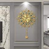 DIEFMJ Wanduhrwerk Große Moderne, Metallblume Wanduhr Wohnzimmer Kreative Pendelwanduhren, Mode Europäische Innenuhr U