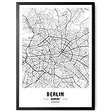 kizibi JUNOMI® Berlin Poster XL Schwarz Weiss, DIN A2 Wohnzimmer Deko, Modernes Wandbild, Berlin Bild, Wandbild ohne Rahmen, Souvenir Berlin, perfekte Geschenkidee für B