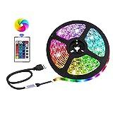 LED Strip Lights USB Powered, SMD 5050RGB Colour Changing Lighting Strip with 24 Keys Remote Control ,DIY TV Backlight,Indoor Decoration (9.84 feet)
