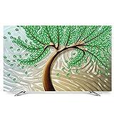 LIUDINGDING-zheyangwang TV-Abdeckung LCD-TV-Anzeige Staubschutz Dekorative Malerei Glücksbaum 55 Zoll (Color : Green Hair Tree, Size : 50/52inch)