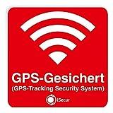 3er Aufkleber-Set GPS-Gesichert - rot I 6 x 6 cm I Warnung GPS-Tracking Security System, Alarm-gesichert I außen-klebend wetterfest I hin_069