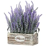 Künstliche Lavendel Blumen Kunstpflanzen Kunstblumen Flocked Kunststoff Lavendel in Rechteck Antik Holztopf Indoor Outdoor Home Küche Büro Tischdekoration Dek