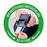 WIRKSAMWERBEN Aufkleber Sticker: Wir akzeptieren Kartenzahlung AB 20 EURO, Kreditkarten möglich | rund 9,5 cm | wetterfest
