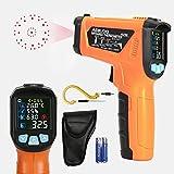AIDBUCKS AD90 Infrarot Thermometer -50°C bis 800°C IR Laser Digital Thermometer kontaktfreies mit K-Sonde, Umgebungstemperatur und Luftfeuchtigkeit, Farbe lcd, Schimmel- und Temperaturalarm