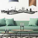 WANDKINGS Wandtattoo - Skyline Bremen (mit Fluss) - 130 x 29 cm - Kupfer - Wähle aus 6 Größen & 35 Farb
