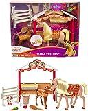 DreamWorks Spirit GXF53 - Spirit Stallfreunde Spielset mit 2 Pferden (ca. 20cm & 13cm), Pferdekoppel und Zubehör für die Pferdefütterung, tolles Geschenk für Kinder ab 3 Jahren
