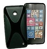 Design X-Rubber Silikon TPU Case in Schwarz für Nokia Lumia 630 – Cover Hülle Schale Kappe