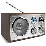 Blaupunkt RXN 180, Küchenradio Retro mit Bluetooth, einfaches Radio mit UKW/FM und Aux In, Retroradio mit Antenne, Büro-Radio, Analog Tuner, Kofferradio, Holzgehäuse, eingebauter Lautsprecher, H