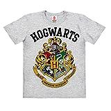 Logoshirt Harry Potter - Wappen - Hogwarts Logo - Kinder Organic T-Shirt - grau-meliert - Bio Baumwolle - Lizenziertes Originaldesign, Größe 140