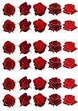 30 wunderschöne rote Rose Blume essbare Wafer Papier Kuchen Topper Dekorationen