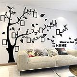 Wandtattoo Baum 3D DIY Wandaufkleber Sticker mit Bilderrahmen Foto Baum Wandsticker Wanddeko Deko für Hause Kinderzimmer Wohnzimmer Schlafzimmer(M: 150 * 210CM,Schwarz Rechts)