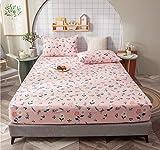 XLMHZP Winter Spannbetttücher,100% Baumwolle Spannbetttuch, Bettlaken aus massiver Baumwolle Bettbezug Vier Ecken mit Gummiband, Rutschfester Matratzenbezug-Q_180x200cm + 30cm
