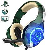 Beexcellent Gaming Headset für PS4 PC Xbox One, LED Licht Crystal Clarity Sound Professional Kopfhörer mit Mikrofon für Laptop Mac Handy Tablet Nintendo Switch