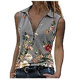 Calvinbi Damen Modedruck V-Ausschnitt Lose ärmellose Reißverschluss Top Bluse Weste Pullover(S-3XL)