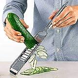 Meijin 3-in-1 Mehrzweck-Gemüseschneider Edelstahl Reibe Schneider Schredder Obst Kartoffelschäler Karottenreibe Küchenwerkzeuge