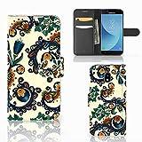 B2Ctelecom Flipcase für Samsung Galaxy J3 2017 Handyhüllen Barok Blume