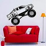 Monster Truck Wandtattoo Cross Country Rennwagen Aufkleber Kunst Wandbilder Garage Interieur Kinderzimmer Abnehmbares Dekor A4 79x57