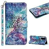 Cestor Handyhülle für Samsung Galaxy S21 FE,Stilvoll Bunt 3D Muster Stoßfest Brieftasche Klapphülle Schutzhülle Klappbar Weich Silikon Ständer Lederhülle mit Kartenfächer,Sternenklarer Himmel