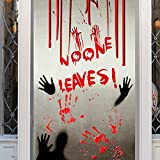 Skyinbags Halloween Fensteraufkleber - 200 * 90 cm Halloween Blutiger Handabdruck Wandmalereien, Halloween Fenster Wandtattoos Für Schlafzimmer Home Door Decor Bar Spukhaus Requisiten