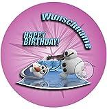 Für die Geburtstags Torte mit Wunschname, Zuckerbild mit dem Motiv: Frozen Die Eiskönigin ( OLAF ), Essbares Foto für Torten, Fondant, Tortenaufleger Ø 20cm, 0224c