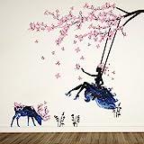 Wandtattoo Mädchen auf Baum Swing & Moose Silhouette Wand Aufkleber mit Rosa Schmetterlinge Dekorative Abnehmbare Wandsticker DIY Vinyl Wand Aufkleber für Wohnzimmer, S
