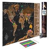 decomonkey Rubbel Weltkarte zum Rubbeln Rubbelkarte Design Geschenk Antik Poster Karte Rubbelweltkarte Landkarte 100x50 cm Viele Extras Laminiert (beschreibbar)