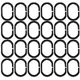 HONGECB Duschvorhangringe, Kunststoff Duschvorhang Haken, Vorhang Aufhängeringe, Vorhanghaken C Ringe, Ringe für Duschvorhang für die Meisten Duschvorhänge Geeignet ist, Schwarz, 24 Stück