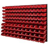 Wandregal Stapelboxen - 1152 x 780 mm - 114 tlg. Boxen Lagersystem Werkzeuglochwand Schüttenregal (Rot)