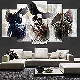 SDGH HD fünf Moderne Gemälde Bilder Holzrahmen hängen Heim- und Bürodekoration Leinwand Tapete/Assassin's Fault Map-Spiel/dekorative Designidee Geschenk