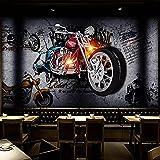 Benutzerdefinierte 3d Retro Ziegel Tapete, ktv Persönlichkeit gebrochen Ziegel Tapete, Motorrad Hintergrund Tapete, Retro Tapete-200x140cm