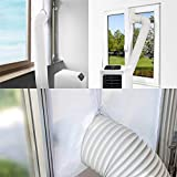 SanGlory 400CM Fensterabdichtung für Mobile Klimageräte, Klimaanlagen, Abluft-Wäschetrockner und Wäschetrockner, AirLock zum Anbringen an Fenster, Dachfenster Flügelfenster (Fenster 400CM)