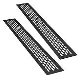 sossai® Aluminium Lüftungsgitter - Alucratis (2 Stück) | Rechteckig - Maße: 48 x 6 cm | Farbe: Schwarz | pulverbeschichtet