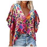 Xmiral Damen Bluse Tie Dye Blumendruck V-Ausschnitt Tasten Loose Shirt Fledermaus Halber Ärmel Streetwear Oberteile(Beige,S)