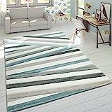 Designer Teppich Modern Konturenschnitt Pastellfarben Gestreift Zick Zack Creme, Grösse:60x110