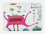 Lunarable Lustige Badematte, Unterwasserwesen mit lustigem Monsterfisch im Afraid of Monsters Words Kids, Plüsch-Badezimmerdekormatte mit rutschfester Unterseite, 74,9 x 44,5 cm, Pink Grün