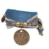 Anisch de la Cara Damen Armband Blue Lion - Hakuna Matata Wickelarmband aus Langapalu-Stoff Hakuna Matata - ArtNr. 4400