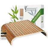 Green'n'Modern Sofatablett rutschfest - Holz Bambus Getränkehalter Armlehne | Couch Tablett flexibel als Sofa Butler | Sofa Tablett Armlehne als Sofa Ablage | Getränkehalter Armlehnentablett (Natur)