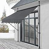 pro.tec Klemmmarkise Grau 250 x 118 x 205-300cm Markise Balkonmarkise Sonnenschutz ohne B