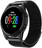 Fitness Tracker Armband für Männer Frauen – 1,22TFT Bildschirm Smart Watch Sport Kalorien Pulsmesser Schrittzähler IP67 wasserdicht – Schwarz