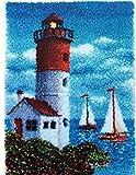 Latch Hook Kit Große Knüpfset Teppich Erwachsene, Landschaft Mustern Knüpfteppich Zum Selberknüpfen, Wohnzimmer Teppich Für Kinder Und Anfänger,Lighthouse,85x60cm/33x24