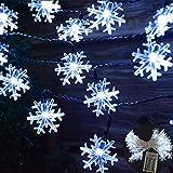 Viilich Schneeflocken-Lichterkette, 5 m, 50 LEDs, batteriebetrieben mit 2 Leuchtmodi für Weihnachtsbaum, Haus, Garten, Schlafzimmer, Innen- und Außenbereich, als Party-Lichterkette, kaltweiß