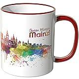 WANDKINGS® Tasse, Schriftzug Guten Morgen Mainz! mit Skyline - ROT